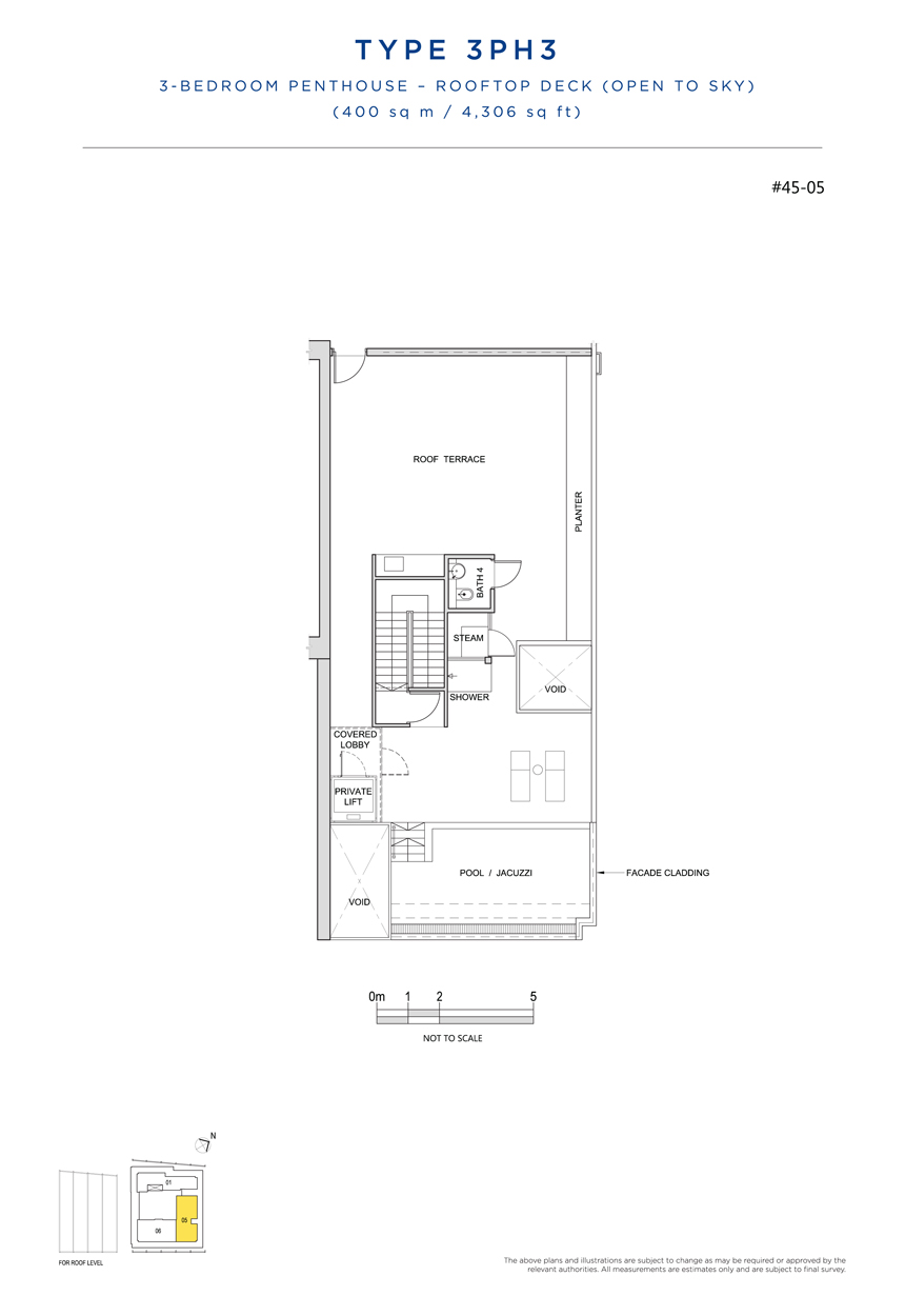 Penthouse 3PH3 rooftop floor plan South Beach Residences