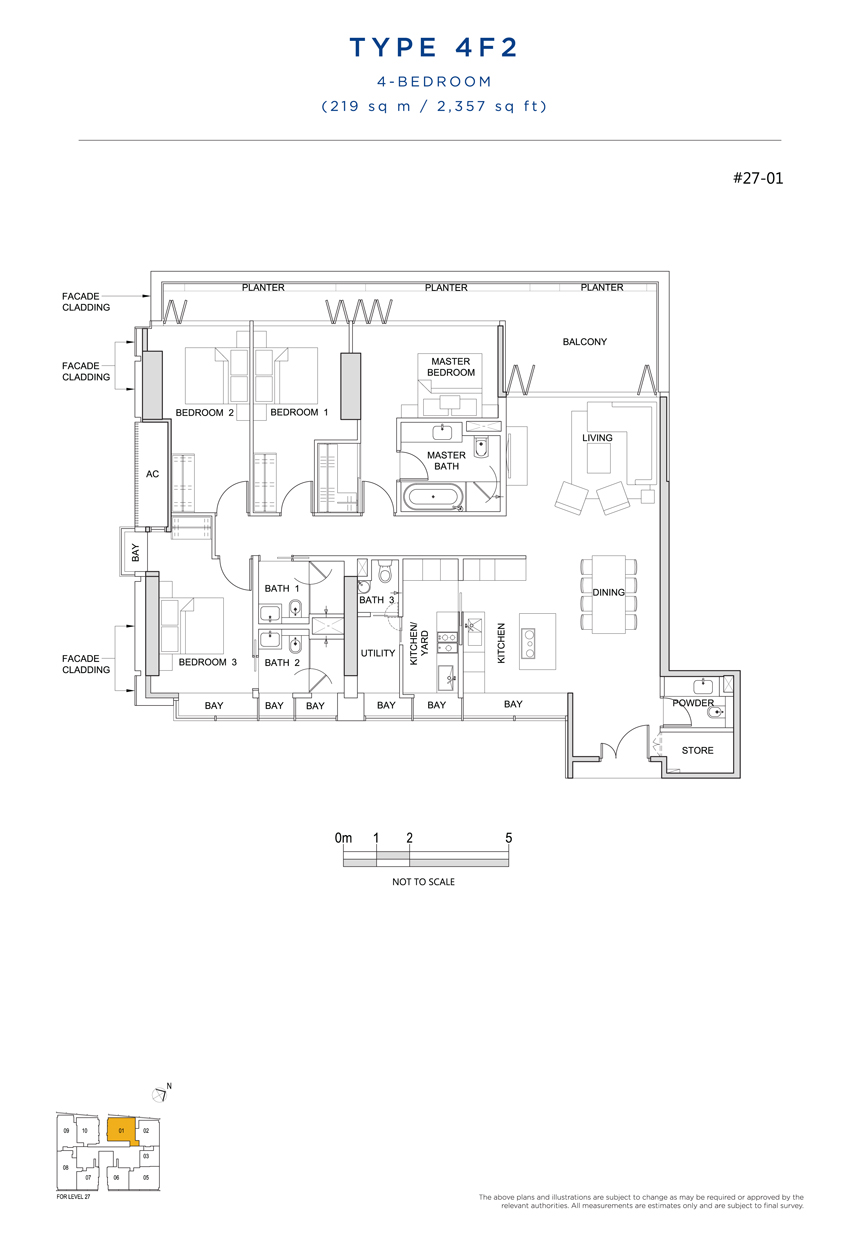 4 bedroom 4F2 floor plan South Beach Residences