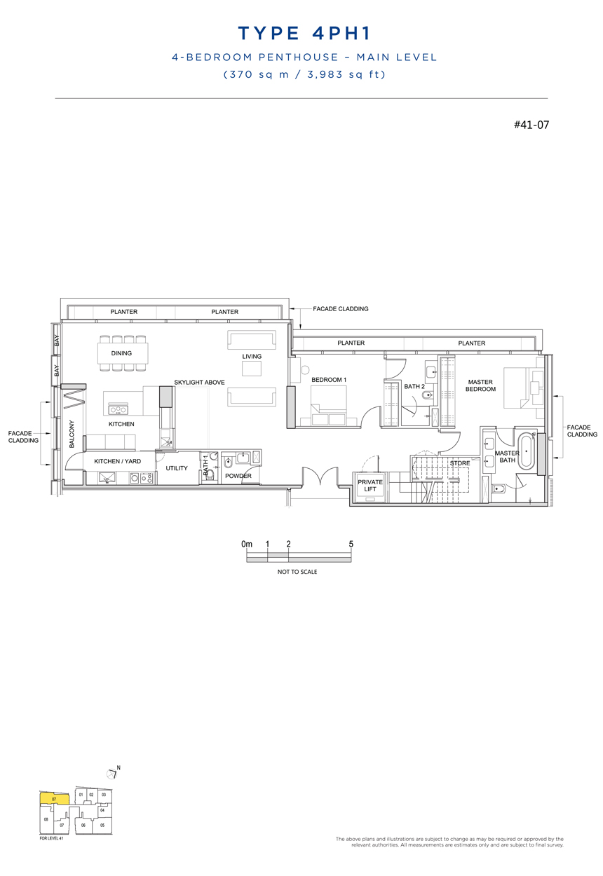 Penthouse 4PH1 main level floor plan South Beach Residences
