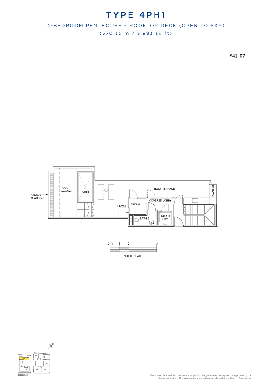 Penthouse 4PH1 rooftop floor plan South Beach Residences