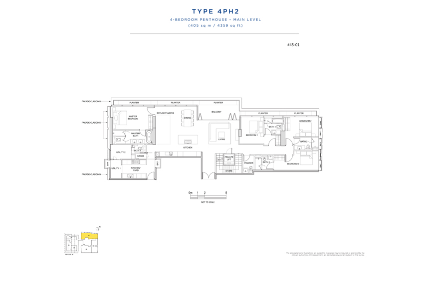Penthouse 4PH2 main level floor plan South Beach Residences