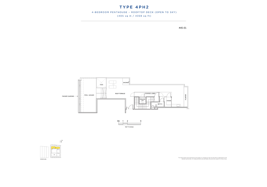 Penthouse 4PH2 rooftop floor plan South Beach Residences