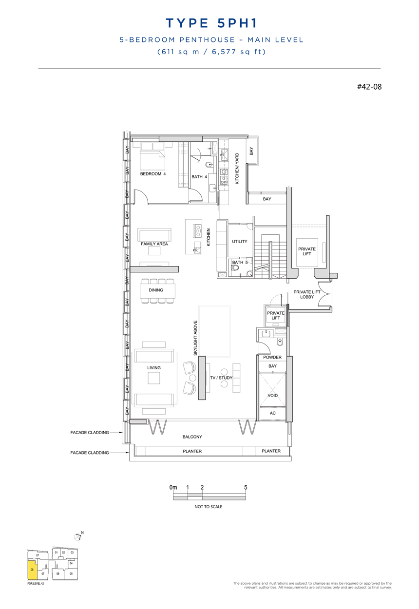 Penthouse 5PH1 main level floor plan South Beach Residences