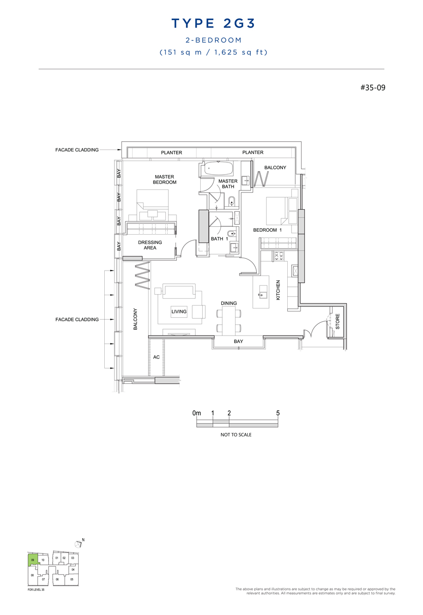 2 bedroom 2G3 floor plan south beach residences