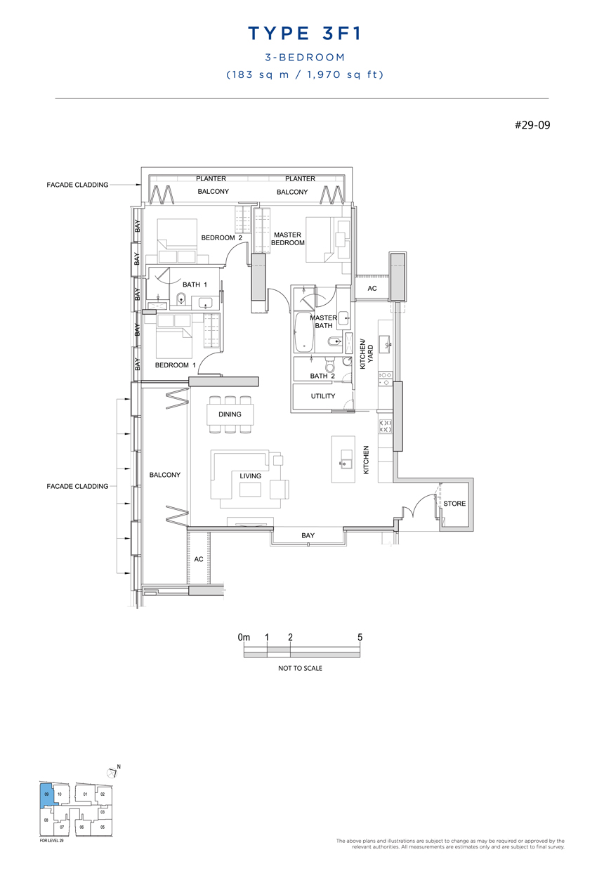 3 bedroom 3F1 floor plan South Beach Residences