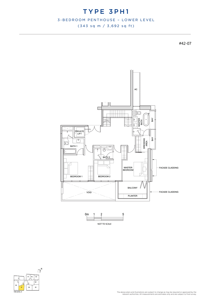 Penthouse 3PH1 floor plan South Beach Residences