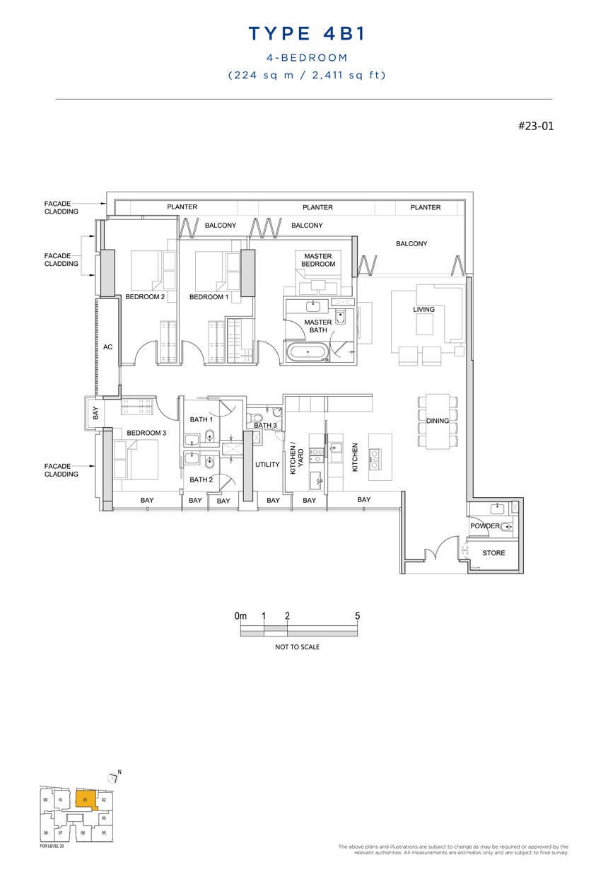 4 bedroom 4B1 floor plan South Beach Residences
