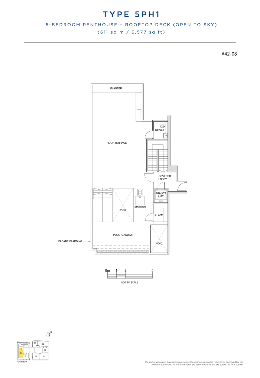 Penthouse 5PH1 rooftop floor plan South Beach Residences