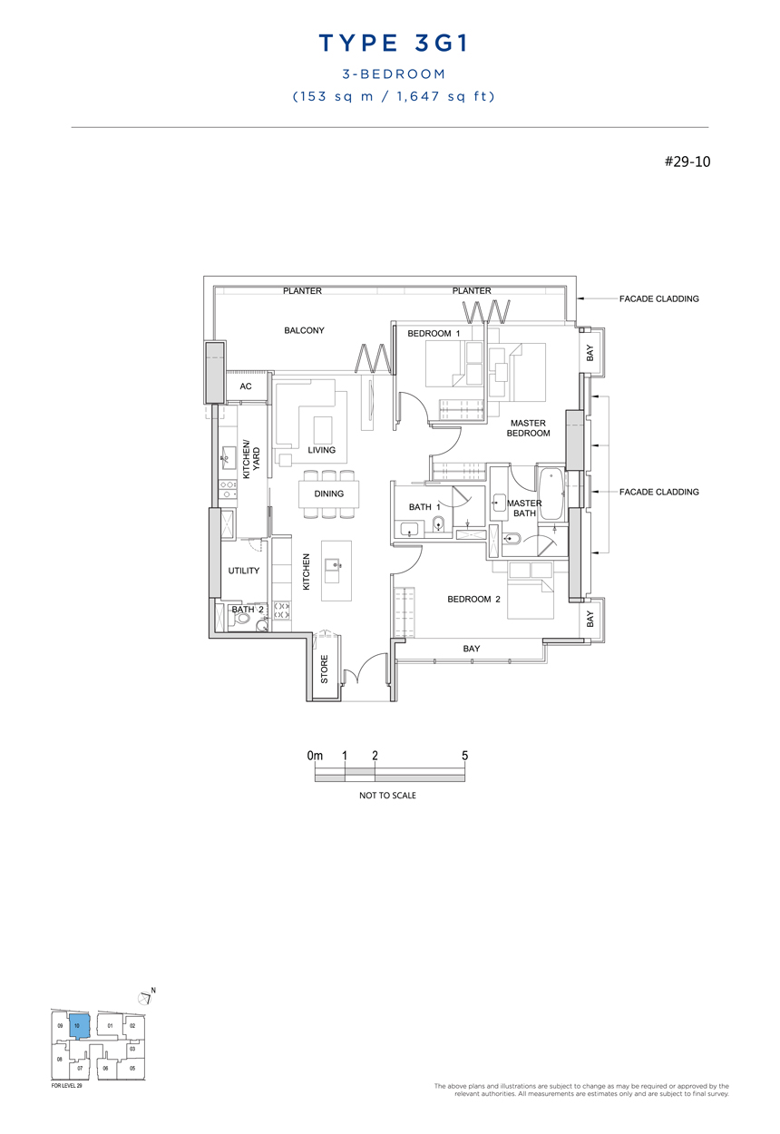 3 bedroom 3G1 floor plan South Beach Residences