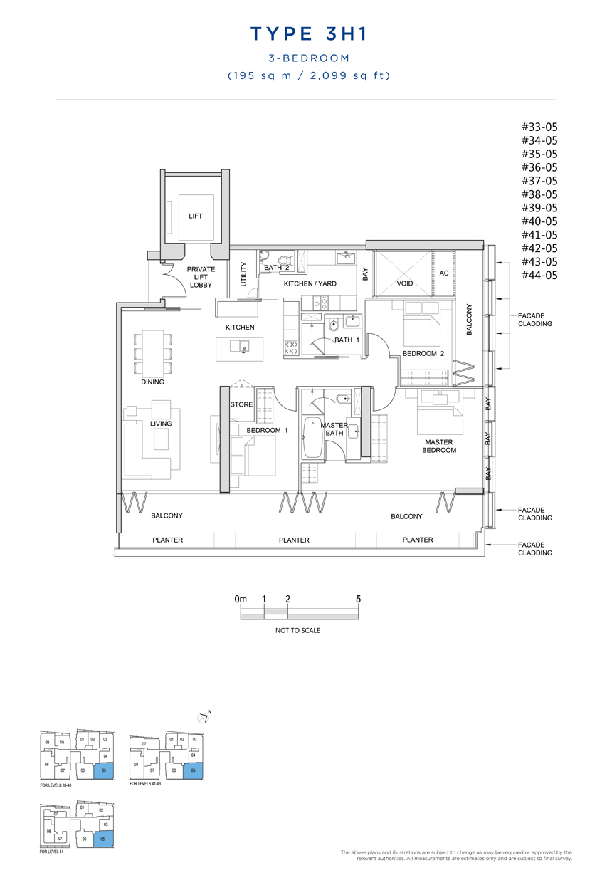 3 bedroom 3H1 floor plan South Beach Residences