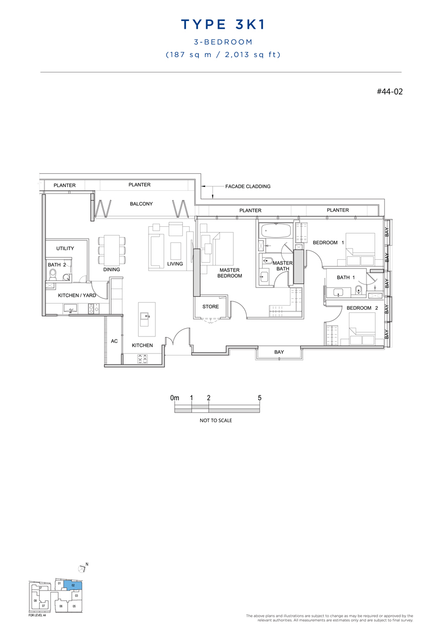 3 bedroom 3K1 floor plan South Beach Residences
