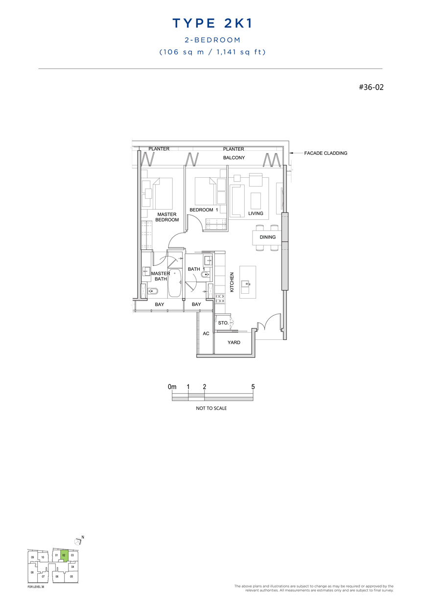 2 bedroom 2K1 floor plan south beach residences