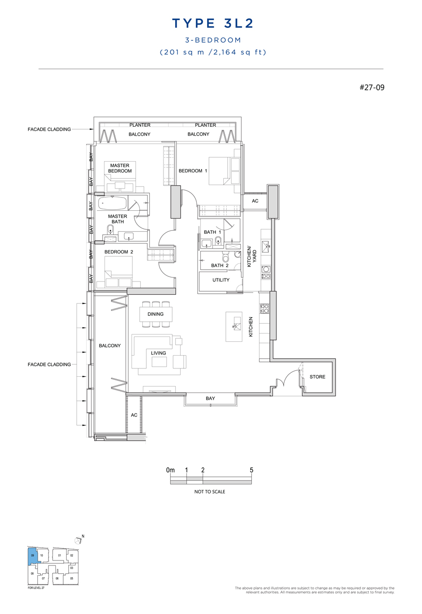 3 bedroom 3L2 floor plan South Beach Residences