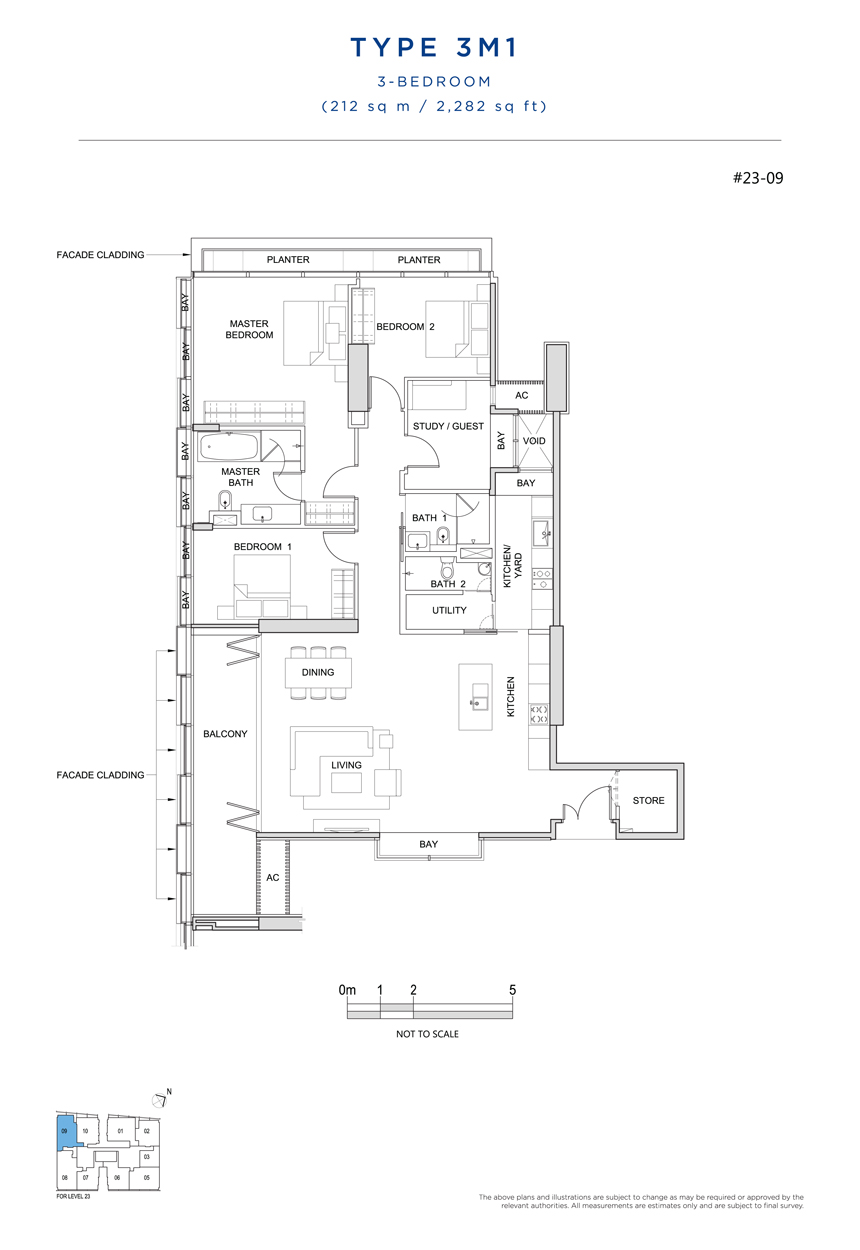 3 bedroom 3M1 floor plan South Beach Residences