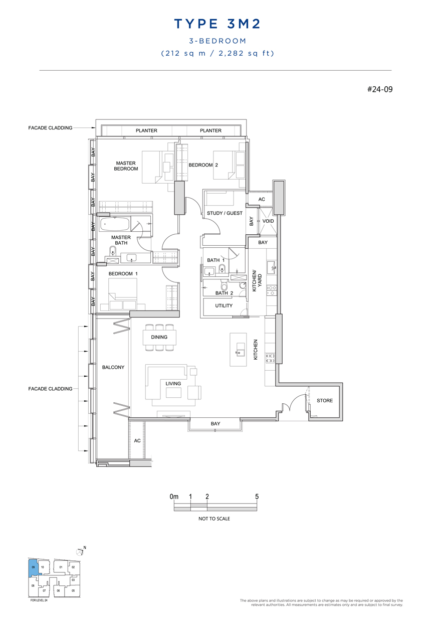 3M2 floor plan South Beach Residences