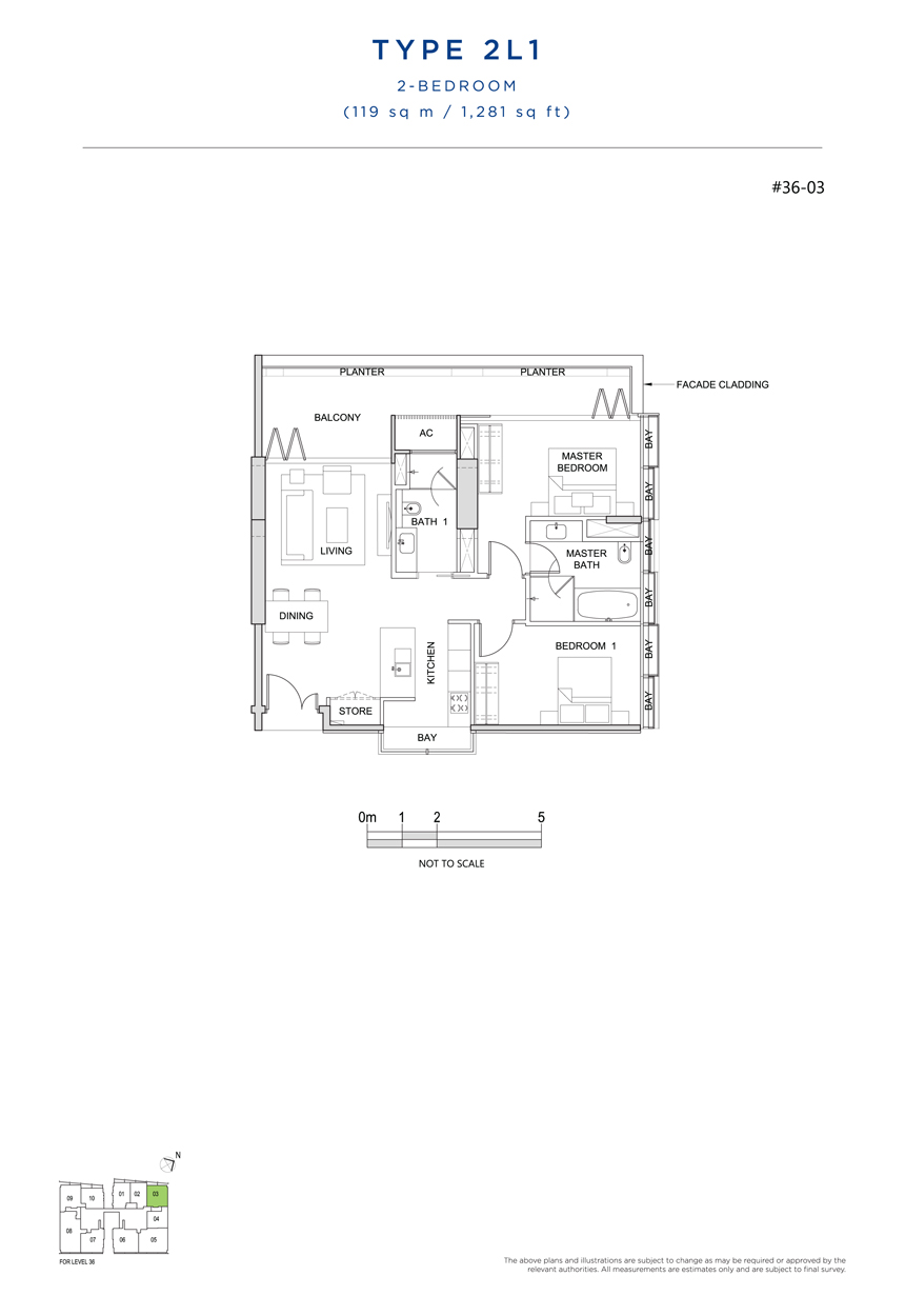 2 bedroom 2L1 floor plan south beach residences