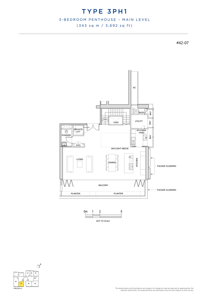 Penthouse 3PH1 main level floor plan South Beach Residences