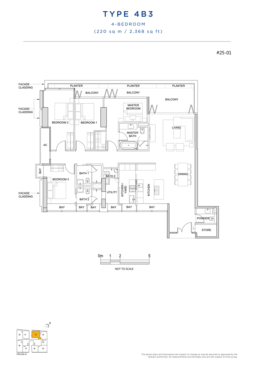 4 bedroom 4B3 floor plan South Beach Residences