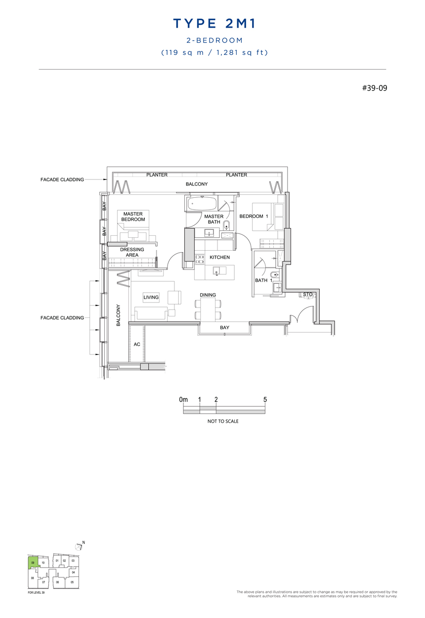 2 bedroom 2M1 floor plan south beach residences