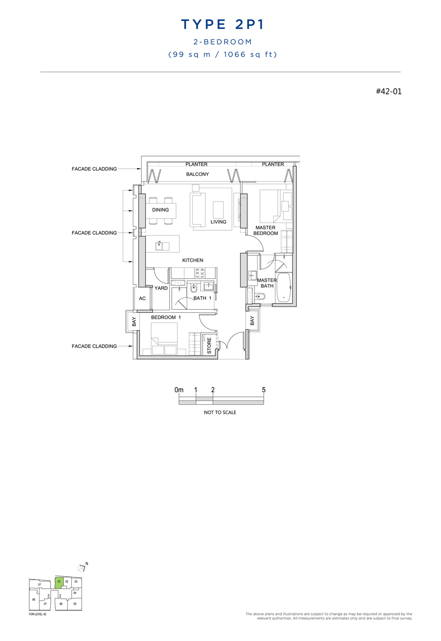 2 bedroom 2P1 floor plan south beach residences