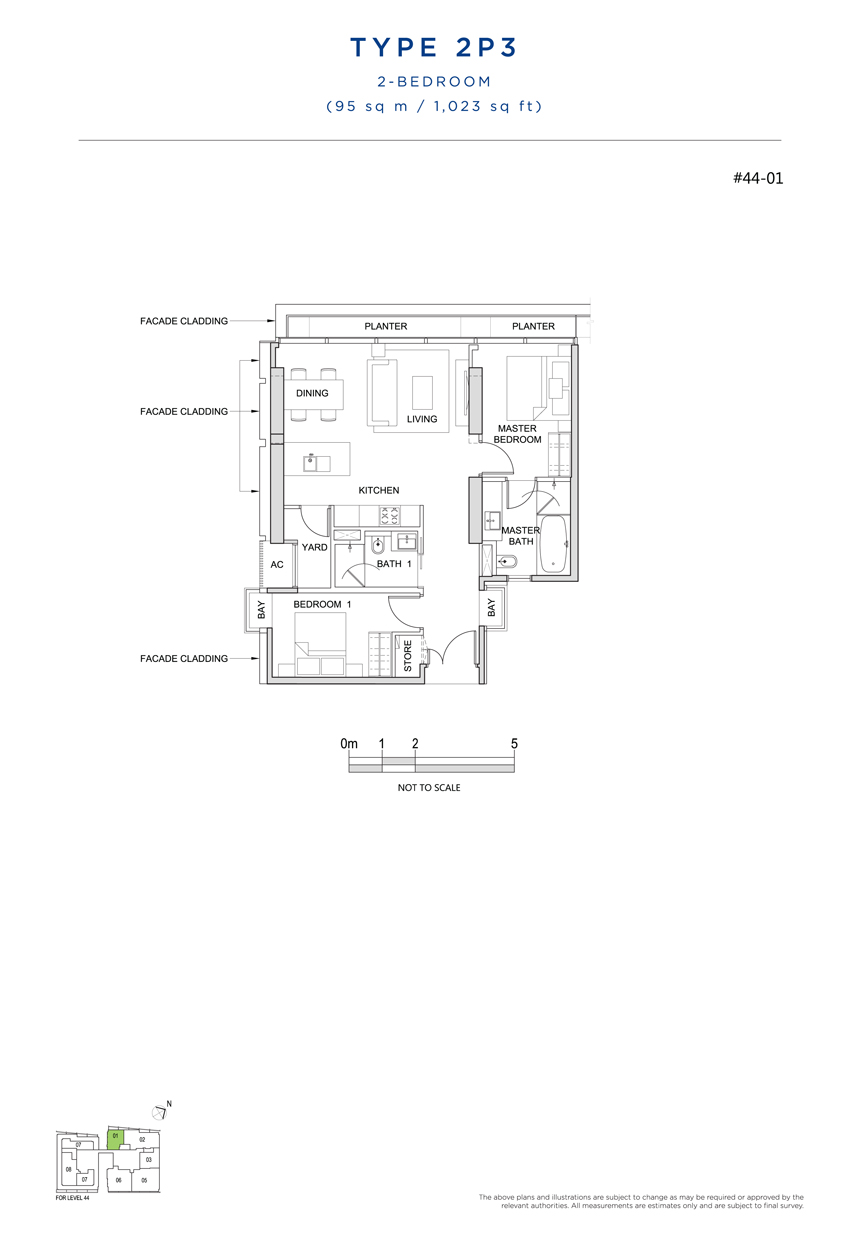 2P3 floor plan south beach residences