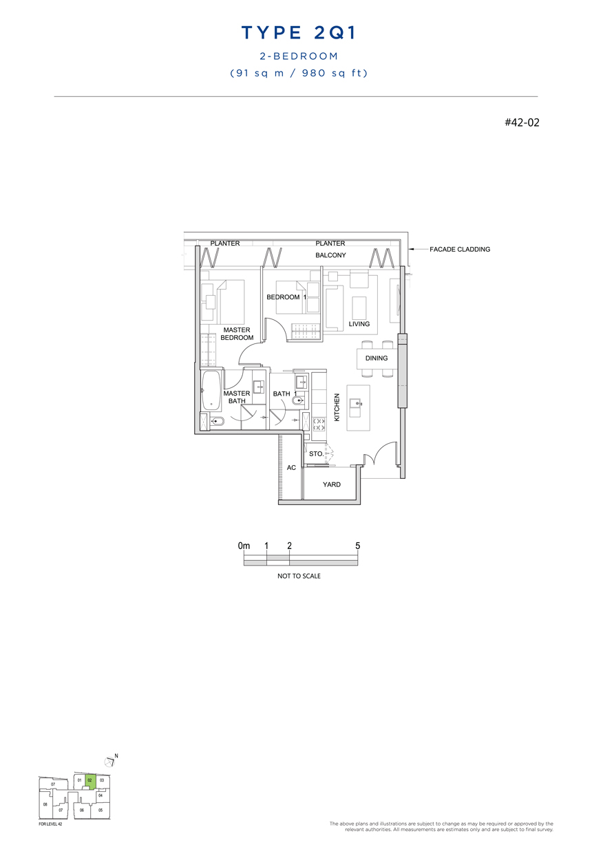 2 bedroom 2Q1 floor plan south beach residences
