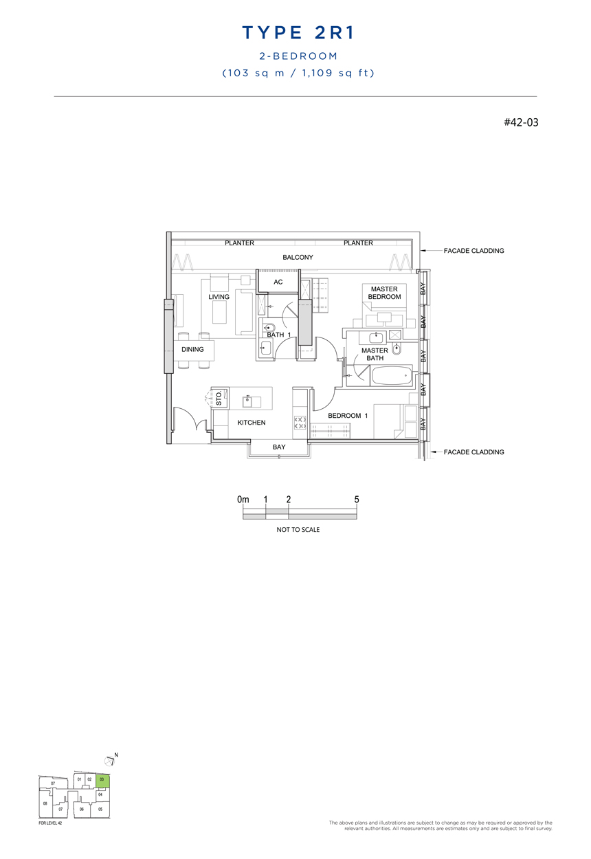 2 bedroom 2R1 floor plan south beach residences