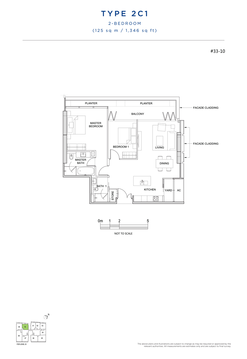 2 bedroom 2C1 floor plan south beach residences