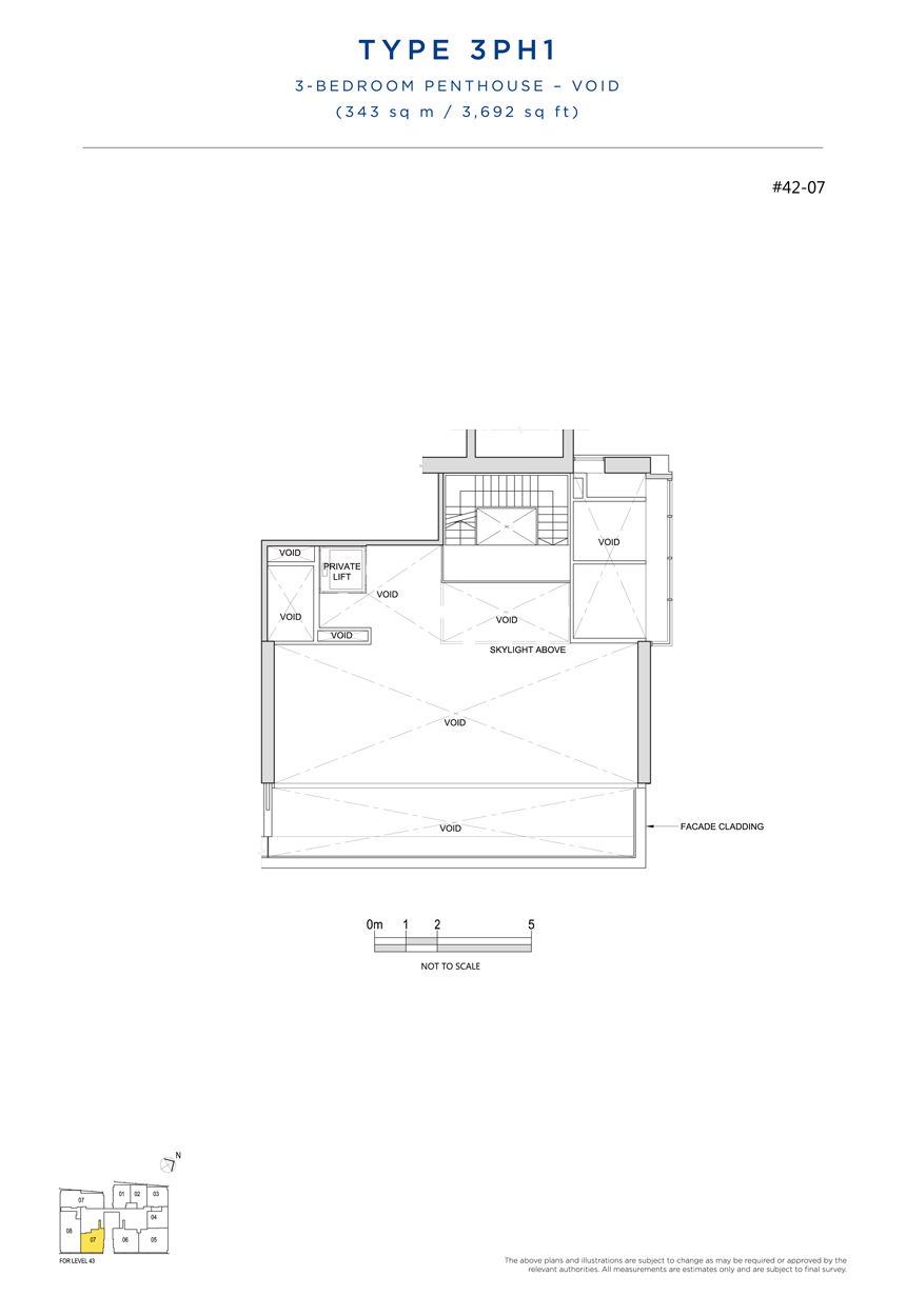 Penthouse 3PH1 void floor plan South Beach Residences