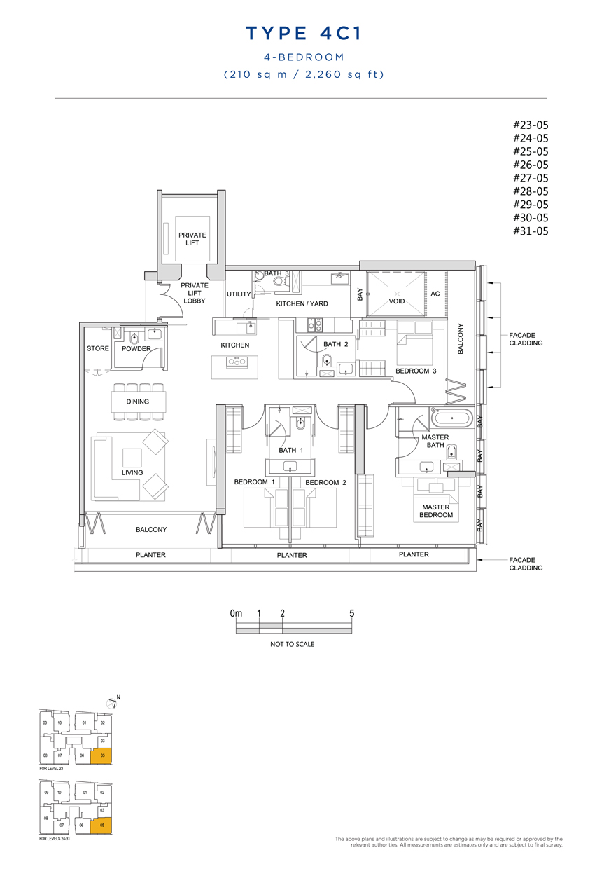 4 bedroom 4C1 floor plan South Beach Residences