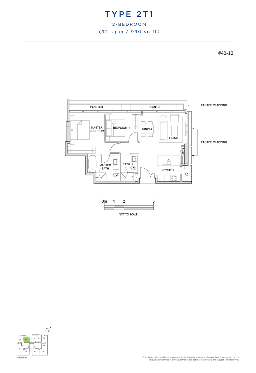 2 bedroom 2T1 floor plan south beach residences