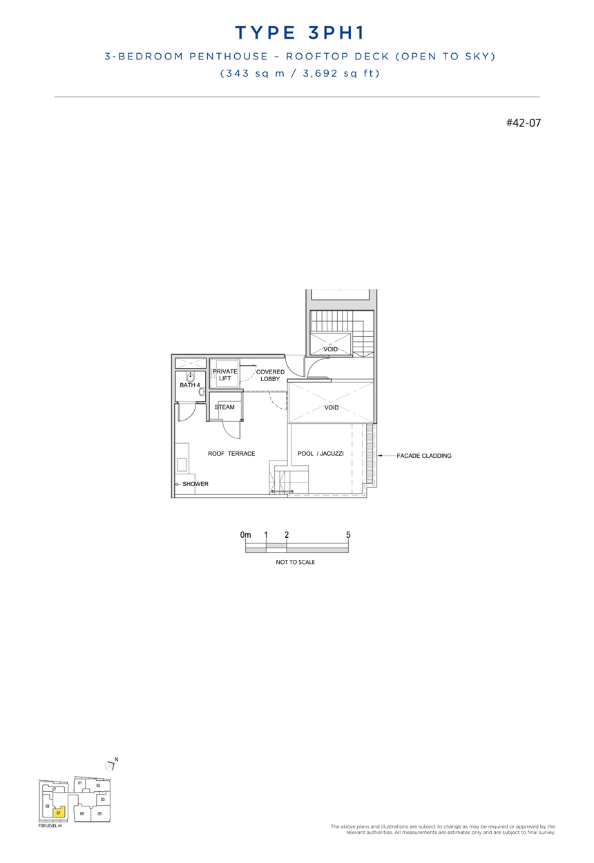 Penthouse 3PH1 rooftop floor plan South Beach Residences