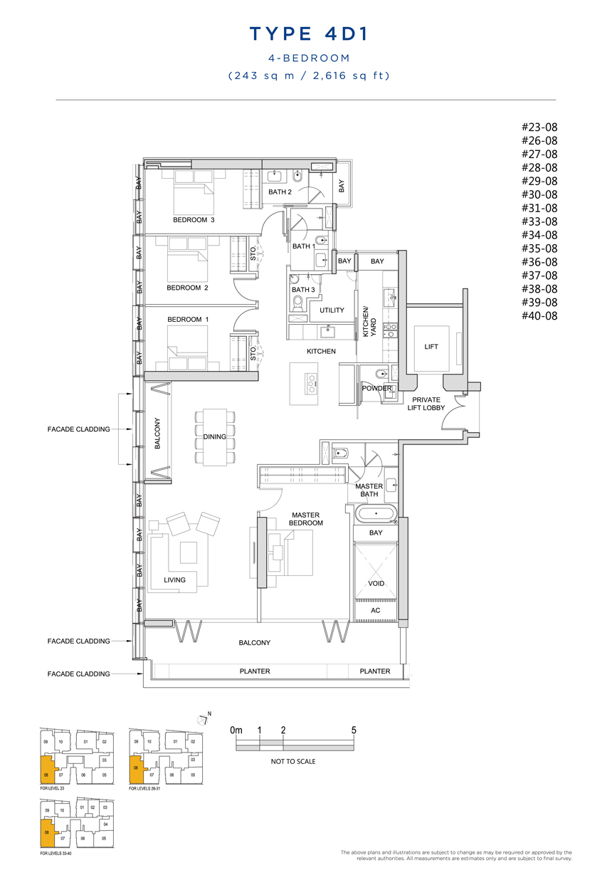4 bedroom 4D1 floor plan South Beach Residences