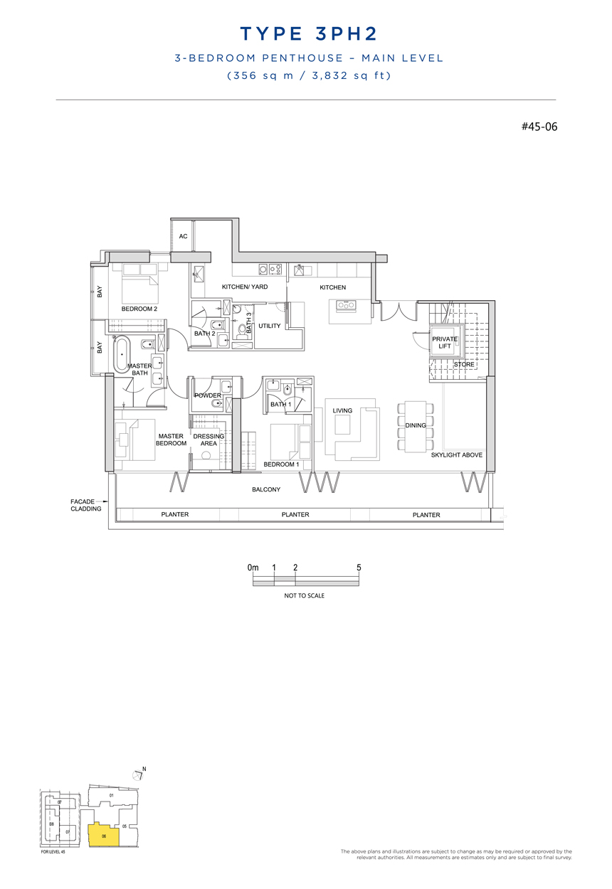 Penthouse 3PH2 main level floor plan South Beach Residences