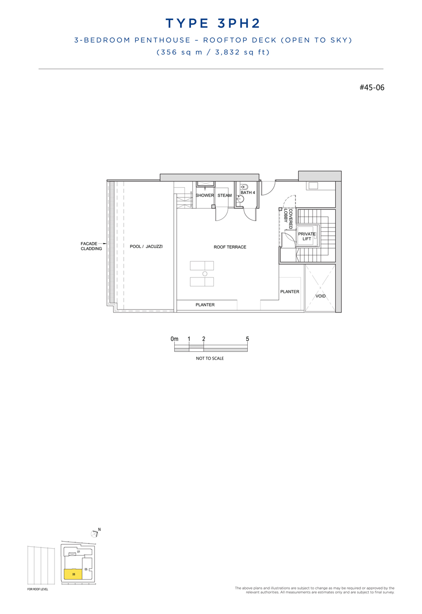 Penthouse 3PH2 rooftop floor plan South Beach Residences