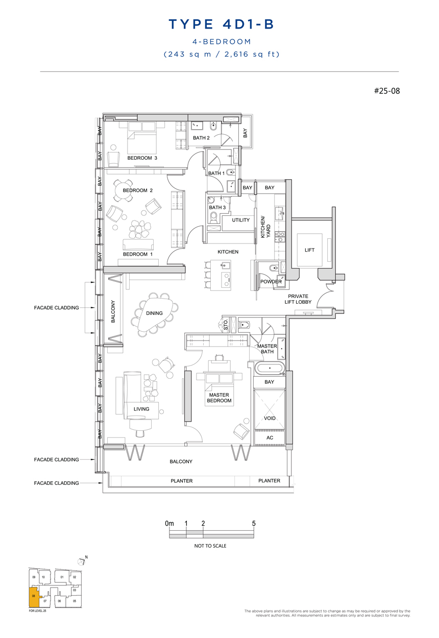 4 bedroom 4D1B floor plan South Beach Residences
